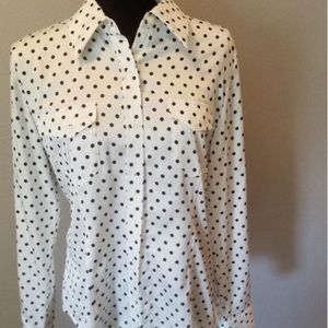 Pendleton White and Black polka Dot Button Up Top